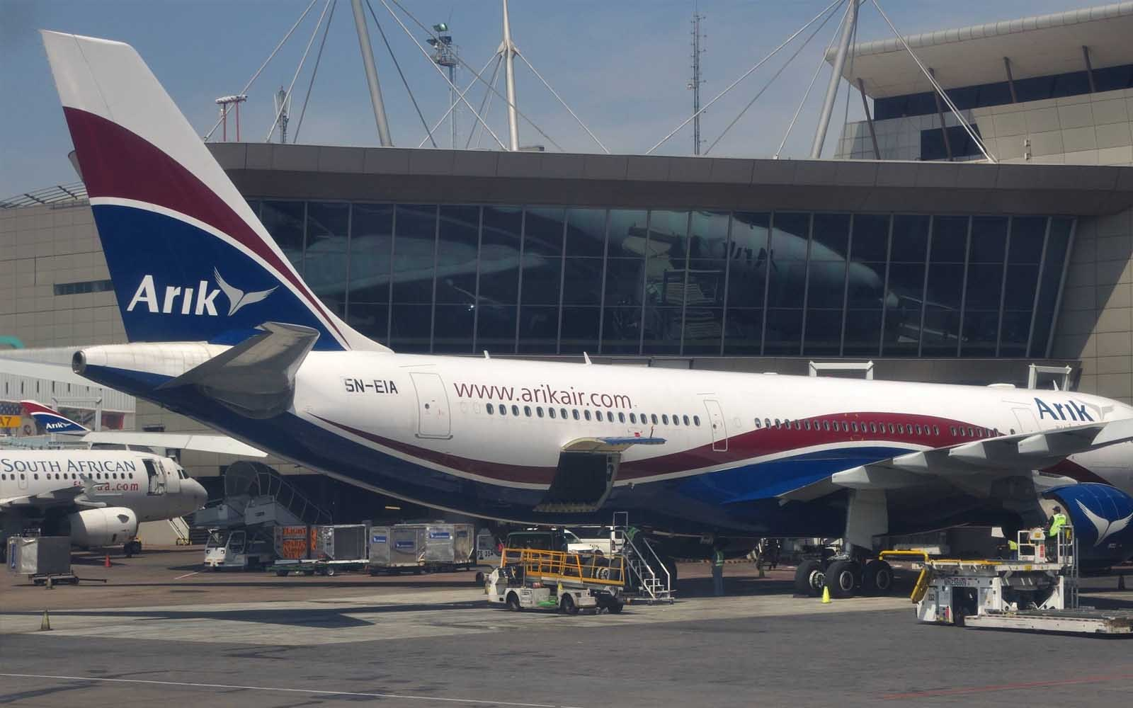 An Arik air aeroplane at Murtala Muhammed International Airport Lagos.