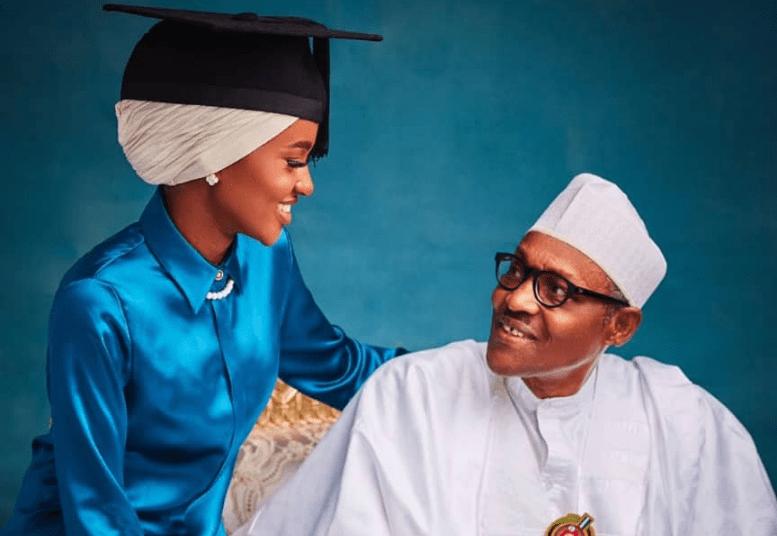 President Muhammadu Buhari and his daughter, Hanan Buhari.