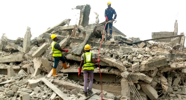Building collapses in Lagos, man trapped under rubble