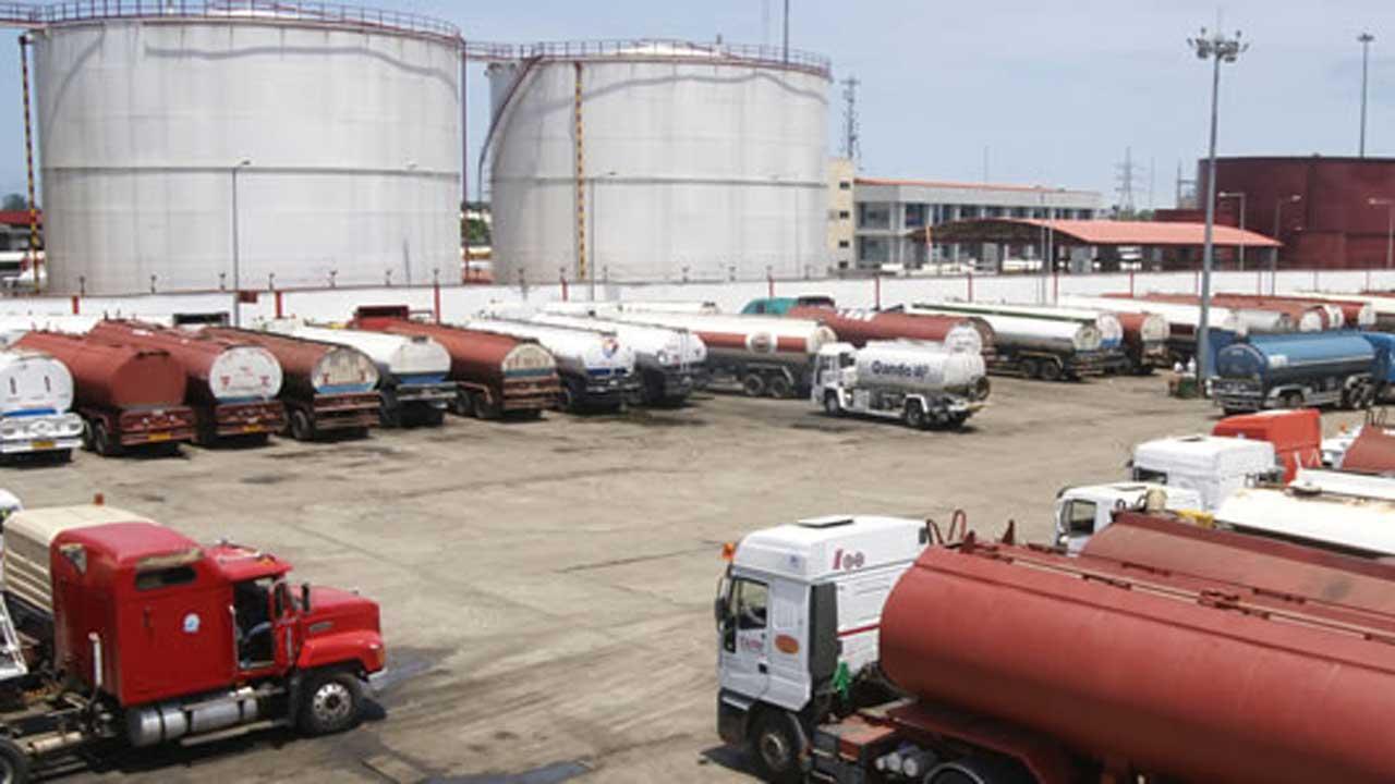 NUPENG Petrol tankers waiting to load at NNPC depot